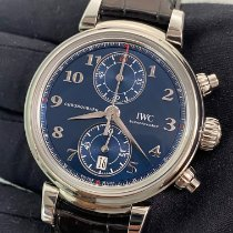 IWC Da Vinci Chronograph pre-owned 42mm Blue Chronograph Date Crocodile skin