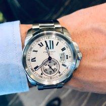 Cartier Calibre de Cartier Stahl 42mm Weiß Römisch