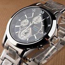 Seiko Premier Steel 41mm Black Roman numerals
