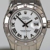 Rolex Lady-Datejust Pearlmaster Złoto białe 29mm Biały Rzymskie