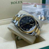 Rolex Datejust brukt 36mm Svart Dato Gull/stål