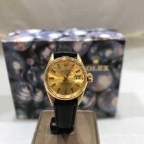 Rolex Or jaune Remontage automatique Champagne Sans chiffres 26mm occasion Oyster Perpetual Lady Date