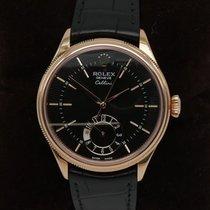 Rolex Cellini Dual Time Růžové zlato 39mm Hnědá