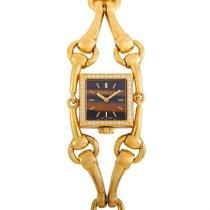 Gucci Жёлтое золото Кварцевые Коричневый 20mm подержанные