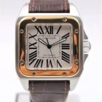 Cartier Santos 100 Gold/Steel 38mm White Roman numerals