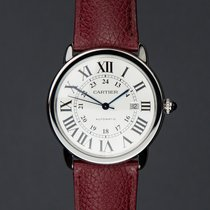 Cartier Steel Automatic Silver Roman numerals 42mm pre-owned Ronde Solo de Cartier