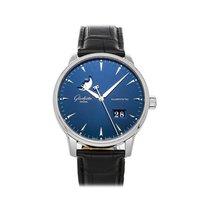 Glashütte Original Senator Excellence Acier 42mm Bleu Sans chiffres