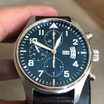 萬國 Pilot Chronograph 二手 43mm 藍色 計時碼錶 皮