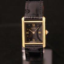 Cartier Silver Quartz Black Roman numerals 23mm pre-owned Tank Vermeil