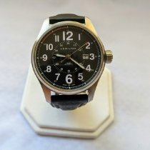 Hamilton Khaki Field Officer pre-owned 44mm Black Date Leather