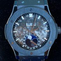 Hublot Classic Fusion Aerofusion pre-owned 45mm Transparent Moon phase Date Crocodile skin