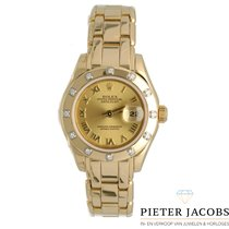 Rolex Lady-Datejust Pearlmaster Ouro amarelo 29mm Champanhe Romanos