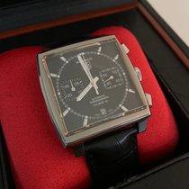 TAG Heuer Monaco Calibre 12 pre-owned 39mm Black Chronograph Date Crocodile skin