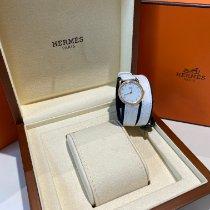 Hermès Arceau Żółte złoto 25mm Biały Arabskie