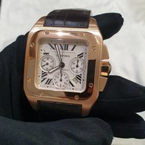 Cartier Santos 100 Rose gold 55.2mm White Roman numerals