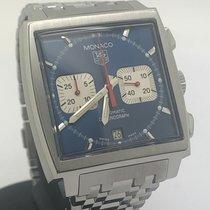TAG Heuer Monaco gebraucht 38mm Blau Chronograph Datum Stahl