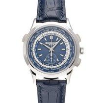 Patek Philippe World Time Chronograph Or blanc 39.5mm Bleu