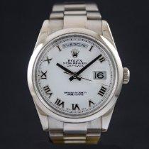 Rolex Oro blanco Automático Blanco Romanos 36mm usados Day-Date 36