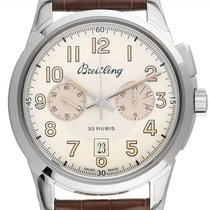 Breitling Transocean Chronograph 1915 Staal 43mm Zilver Arabisch
