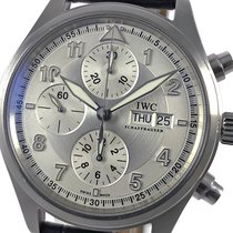 IWC Pilot Chronograph Stal 39mm Srebrny Arabskie