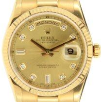 Rolex Day-Date 36 Κίτρινο χρυσό 36mm Σαμπανιζέ χρώμα Xωρίς ψηφία Ελλάδα, GLYFADA