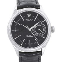 Rolex Cellini Date pre-owned 39mm Black Date Leather