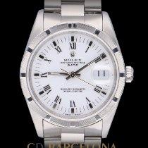 Rolex Oyster Perpetual Date Stål 34mm Vit Inga siffror