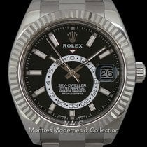 Rolex Or blanc Remontage automatique Noir Sans chiffres 42mm occasion Sky-Dweller
