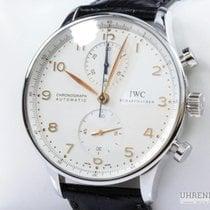 IWC Portuguese Chronograph occasion 41mm Blanc Chronographe Cuir de crocodile