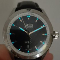Oris Artix GT pre-owned Black Date Weekday Leather