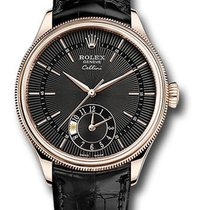 Rolex Cellini Dual Time Oro rosa 39mm Negro