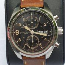 Hamilton Khaki Field occasion 42mm Noir Chronographe Date Affichage des jours Cuir