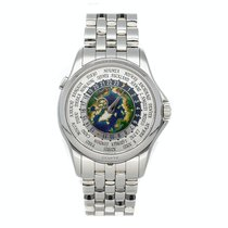 Patek Philippe World Time Platinum 39mm Silver Arabic numerals