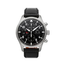 IWC Pilot Chronograph occasion 43mm Noir Chronographe Date Cuir