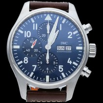 IWC Pilot Chronograph Zeljezo 43mm Plav-modar Arapski brojevi