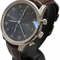 IWC White gold Automatic Black Arabic numerals 40mm pre-owned Portuguese Chronograph