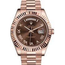 Rolex Day-Date II Rose gold 41mm Brown Roman numerals