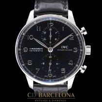 IWC Portuguese Chronograph occasion 41mm Noir Chronographe Cuir de crocodile