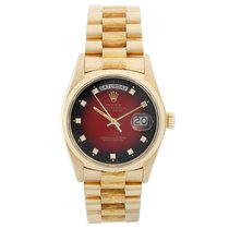 Rolex Yellow gold Automatic Red 36mm pre-owned Day-Date 36