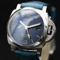 Panerai Luminor 1950 3 Days GMT Automatic pre-owned 44mm Blue Date GMT Crocodile skin