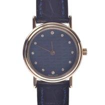 에르메스 옐로우골드 쿼츠 파란색 23mm 중고시계