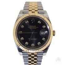 Rolex Datejust Zlato/Zeljezo 40mm Crn