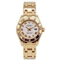 Rolex Lady-Datejust Pearlmaster Gelbgold 31mm Weiß
