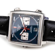 TAG Heuer Monaco Calibre 11 brukt 38mm Blå Kronograf Dato Lær