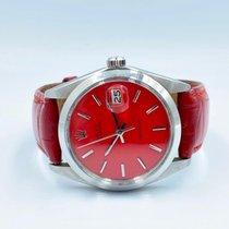 Rolex Oyster Precision Acier 34mm Rouge Sans chiffres