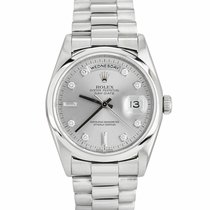 Rolex Platinum Automatic Silver 36mm pre-owned Day-Date 36