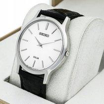 Seiko Solar Acier 38mm Blanc Sans chiffres