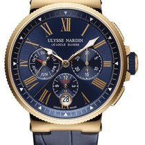Ulysse Nardin Marine Chronograph Rose gold 43mm Blue