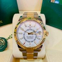 Rolex Sky-Dweller Or/Acier 42mm Blanc Sans chiffres