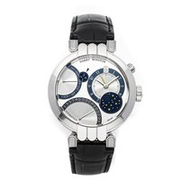 Harry Winston Premier pre-owned 41mm Silver Moon phase Date Month Perpetual calendar GMT Crocodile skin